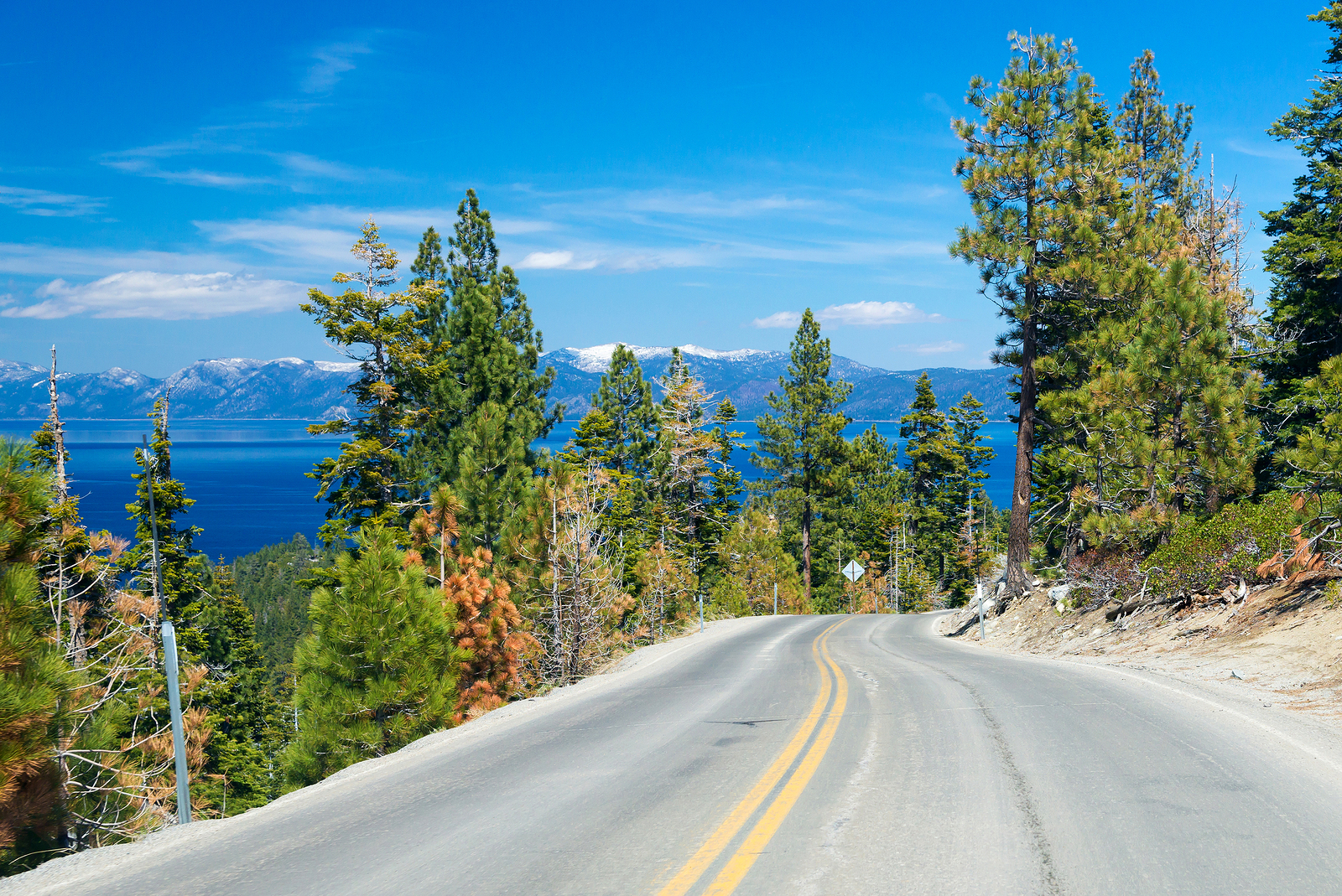 Image of scenic route along the Lake Tahoe, USA for dui lawyer and criminal defense attorney for truckee