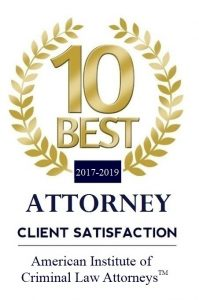 Image of certificate awarded to 10 best criminal DUI lawyers in lake Tahoe, Truckee areas